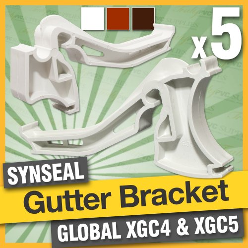 5 x White XGC4 Synseal - Global Conservatory Roof Gutter Brackets - suitable for conservatories with low-pitch Global 600 System roofing or guttering system. Genuine manufacturers brackets clip-and-lock type.