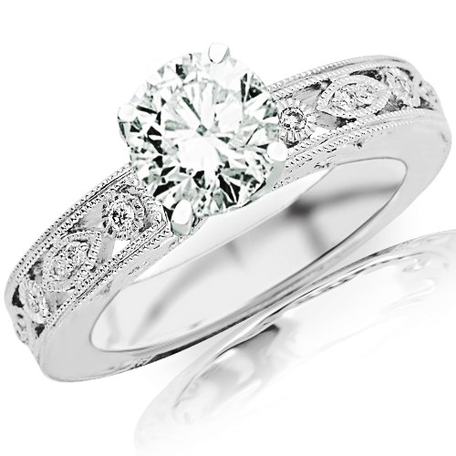 0.68 Carat Gia Certified Round Cut / Shape Antique / Vintage Bezel Set Diamond Engagement Ring With Milgrain ( I Color , Si1 Clarity )