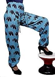 Cotton Elephant Genie Harem Pants Boho Gypsy Trousers Free Size (Blue)