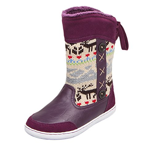 uovo-winter-snow-boot-reindeer-back-lace-up-shoes-for-kids-boys-girls-uk-size-10-eu-28-us-size-11-pu