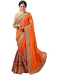 Panash Trends Silk & Net Beautiful Work Designer Party Wear Saree With Blouse Piece For Women's/Girl's