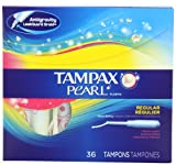 Tampax Pearl Plastic, Regular Absorbency, Fresh Scent Tampons 36 Count