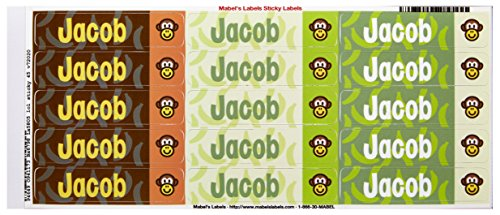 Mabel'S Labels 40845049 Peel And Stick Personalized Labels With The Name Jacob And Monkey Icon, 45-Count front-832573