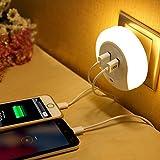 LEDナイトライト コンセント差込口付き 明暗センサー 足元灯 三つのモード LEDライト USBポート付いたナイトライト 光センサー  led感応ライト