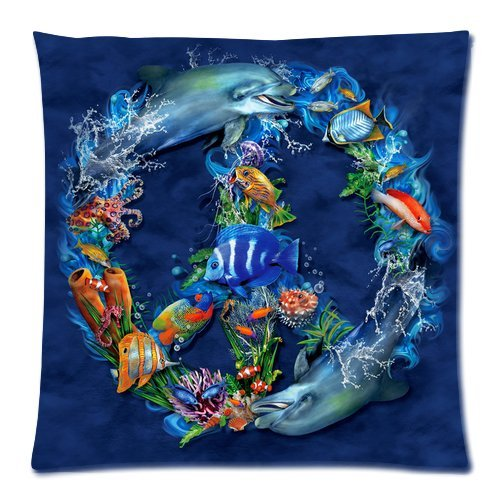"Sea World Ocean Fishes Dolphin Peace Sign Navy Blue Custom Zippered Pillow Cushion Case Throw Pillow Covers 18""X18""(Two Sides) front-14266"