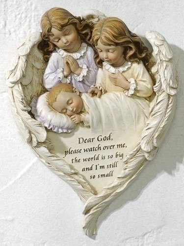 "8.25"" Hush-a-bye"" Plaque Baby Plaque with Guradian Angels. Perfect for a Baptism Christening or Baby Shower"