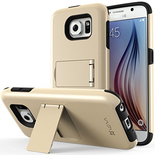 Galaxy S6 Case, VENA Legacy [Dual Layer Protection |Shock Absorption] Heavy Duty Cover with Kickstand [+1 HD Clear Screen Protector] for Samsung Galaxy S6 2015 (Champagne Gold & Black) (Dual Protection compare prices)