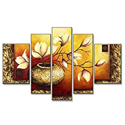 Neron Art - Elegant Floral Yellow Purple Flower Floral Oil Paintings Set of 5 Panels on Gallery Wrapped Canvas overall 56X32 inch