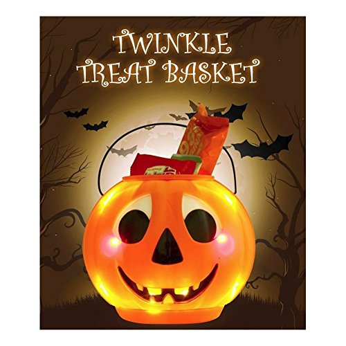Twinkle Treat Basket Halloween Pumpkin Trick or Treat Candy Bucket Light & Sound