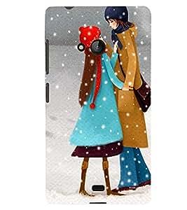 Printvisa Mother Daughter In Snowfall Back Case Cover for Lumia Lumia 540::Microsoft Lumia 540