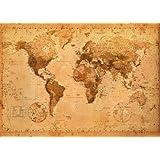 Poster XXL Mappemonde (Carte du monde) Style ancien/vintage (140cm x 100cm)