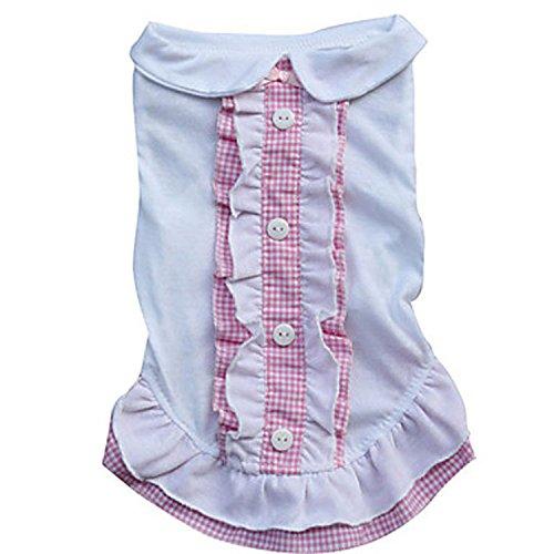 primavera estate cotone pelo animale domestico caldo morbido accogliente magliette in cotone signora bavero cane copre 3 colori 4 formati 2 pezzi , purple , xs