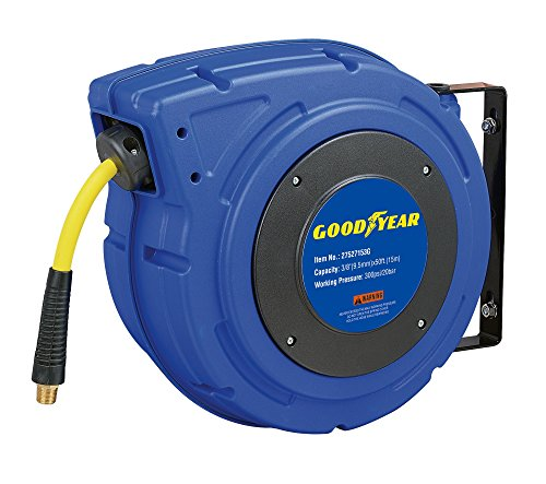 Goodyear 27527153G Enclosed Retractable Air Compressor/Water Hose Reel with 3/8 in. x 50 ft. Hybrid Polymer Hose, Max. 300PSI (Ceiling Leak Seal compare prices)