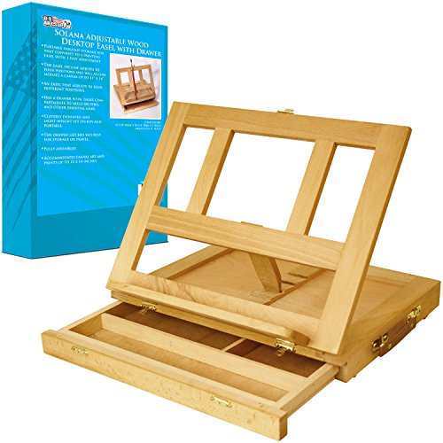US Art Supply Solana Adjustable Wood Desk Table Easel with Storage Drawer, Premium Beechwood (Table Top Painting Easel compare prices)