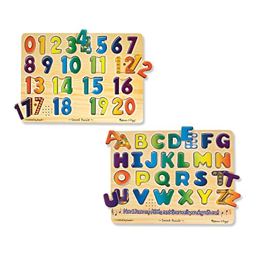 Melissa & Doug Sound Puzzles Set: Numbers and Alphabet - Wooden Peg Puzzles (Wooden Number Set compare prices)