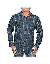 Hunk Men's Blue Cotton Shirt