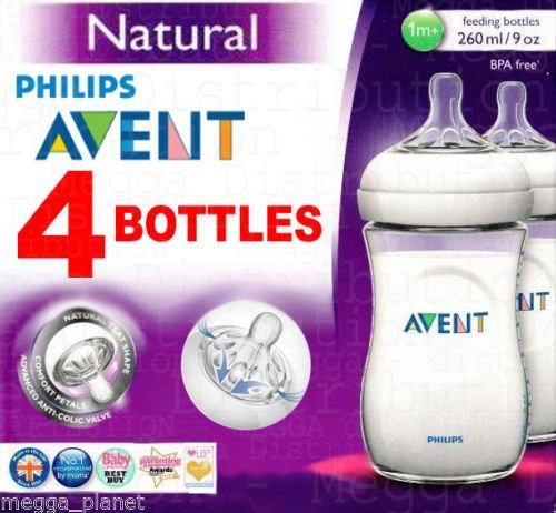 4-x-Philips-Avent-260-ml-Baby-Flschchen-Serie-Natural-Anti-Kolik-Ventil-BPA-frei-Kombinieren-natrlichen-Stillen-und-flaschenftterung