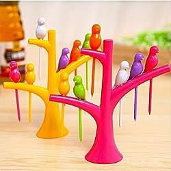 Fruit Fork Decorative Bird Tree Set for Lunch Desert Holder Snack Salad Parties & Other Events