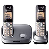 Panasonic KX-TG6512EM DECT Twin Digital Cordless Phone Set - Silverby Panasonic Phones