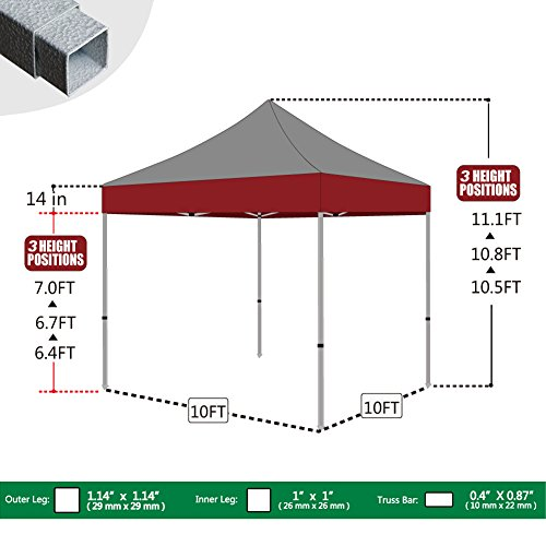 Eurmax Basic 10-by-10-foot Pop up Instant Commercial Canopy Tent with Rolling Bag, Black