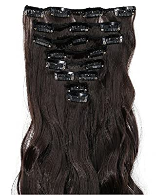 """S-noilite® 24"""" Curly Dark Brown Full Head Hairpiece Clip in Hair Extensions 8 Piece 18 Clips New Products Unique Stylish 5a Quality USA Local Post"""