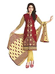 PShopee Gold & Maroon Cotton Embroidery Unstitched Multistylist Dress Material