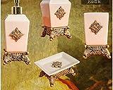 Vintage Pink Floral - 4 Piece Set Ceramic Bathroom Accessory,Luxury Decor,Elegant Designing Bathrooms,Wedding Gifts,Soap Dispenser/Toothbrush Holder/1 Bathroom Tumbler/Soap Dish