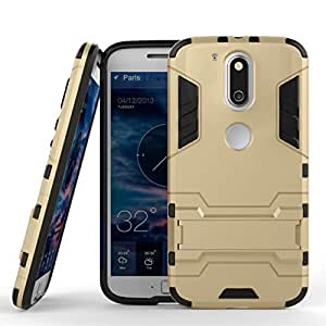 IDEAL Back Cover Case for Moto G + Plus 4th Gen (G4) (Gold) [Military Grade Version 3.0 With Kick Stand Hybrid Back Cover Case]