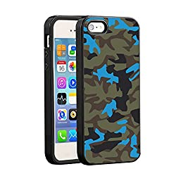 iPhone SE/ iPhone 5s/ iPhone 5 Bumper Case (Black) - Neon Blue Camouflage - Limited Edition Designed by Nik-L