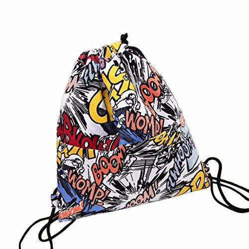 kingko® Borsa da viaggio delle ragazze delle donne zaino stampa con coulisse sacchetto fascio Port dello zaino del sacchetto casuale Shopping Bag 37cm×33cm (A)