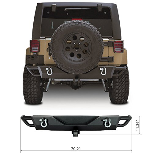 Restyling-Factory-07-16-Jeep-Wrangler-JK-Rear-Bumper-With-Two-475-Ton-With-D-Rings-and-2Hitch-Receiver