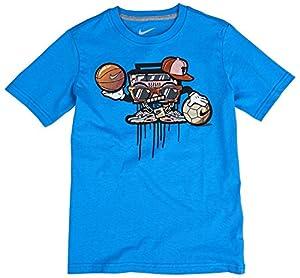 NIKE Jungen Kurzarm Shirt Boombox Playa, Light Photo Blue/Dark Grey Heather, S, 620559-463