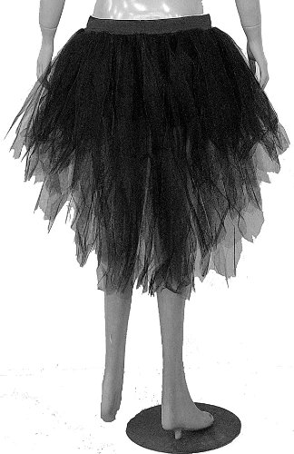 Black 7 Layers Trashy Tutu Skirt Peacock Bustle Dance Fancy Costume Dress Party Halloween Christmas Free Shipping (Trashy Fancy Dress)