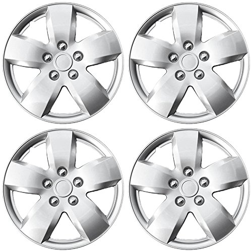 Hubcaps for Nissan Altima, 07-08 Silver Auto Hub Covers, OEM Genuine Factory Aftermarket Raplacement, Snap On - Fits 16