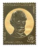Rare 23 carat gold leaf Abraham Lincoln American President stamp - Staffa Scotland, 1861 - 1865 / face value ú8
