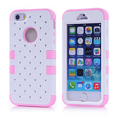 iPhone 5S Case, KAMII 3 Layers Verge Hybrid Soft Silicone Hard Plastic Triple Quakeproof Drop Resistance Protective Case Cover for Apple iPhone 5/5S/SE (White Pink) (Marvel Silicone Iphone 5s Case compare prices)