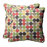 Pillow Perfect Decorative Multicolored Polka Dots Square Toss Pillows, 2-Pack