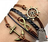 Vintage Nautical Rudder Anchor Bracelet Infinity Handmade Coffee Leather Rope