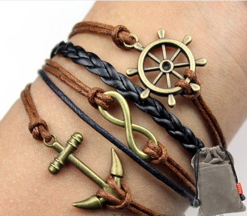 Vintage Nautical Rudder Anchor Bracelet Infinity