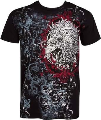 EagleFleur645 Tête d'aigle et Fleur de Lys En relief argent métallique Manches courtes Col rond Coton T-Shirt Fashion homme - Noir / Petit