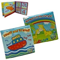 Pack of 2 - One Of Each Jungle/Travel Bath Time Book - Bath Time Fun For Babies