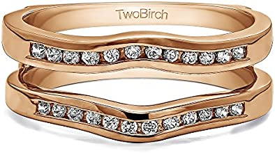 10k Gold Classic Curved Ring Guard with Diamonds 024 ct twt