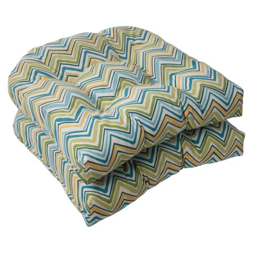 Pillow Perfect Indoor/Outdoor Cosmo Chevron Wicker Seat Cushion, Lilypad, Set of 2 image