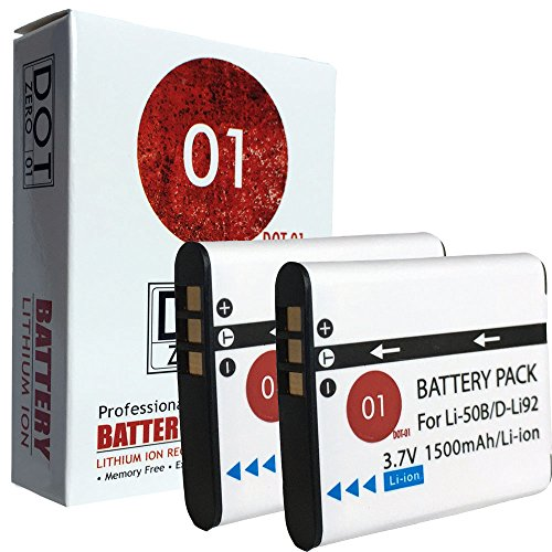 2x DOT-01 Brand 1500 mAh Replacement Pentax D-Li92 Batteries for Pentax WG-1 Digital Camera and Pentax DLI92