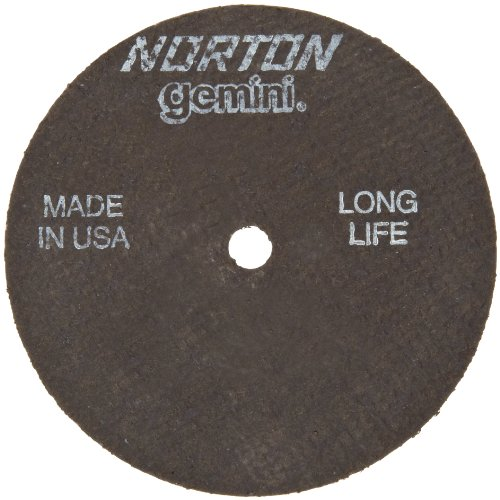 "Norton Gemini Long Life Small Diameter Reinforced Abrasive Flat Cut-off Wheel, Type 01, Aluminum Oxide, 3/8"" Arbor, 3"" Diameter x 1/16"" Thickness (Pack of 5)"
