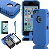 Joma Deluxe Hard Soft High Impact Hybrid Armor Defender Case Combo for Apple iPhone 5C with Screen Protector & Stylus (Blue+Black)