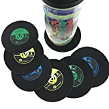 Hirun Silicone Drink Coasters Set of 6 - Music Record Mats,Good Grip,Tabletop Protection Prevents Furniture Damage,Large 4.2 inch Size