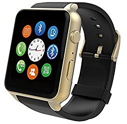 SUPVIN® GT88 Water Resistant Heart Rate Monitor Bluetooth Smartwatch Support SIM Card NFC Smart Watch for IOS Android System Smartphones (Gold)