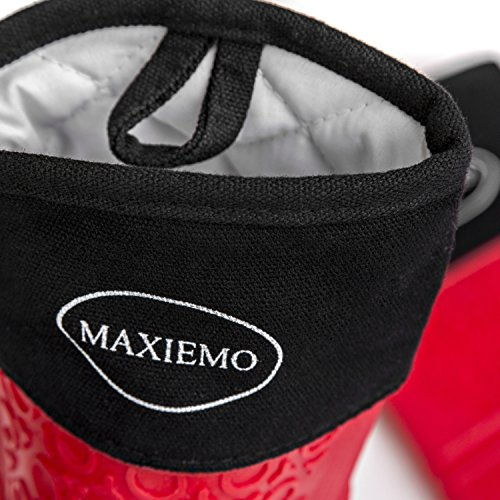 Silicone Oven Mitts by MAXIEMO. 1 Pair of Extra Long Professional Heat Resistant Potholder Gloves, Quilt Lining