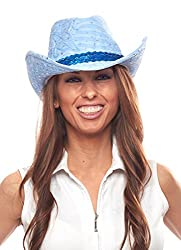 Glitter Sequin Trim Cowboy Hat (Light Blue with Sequined Band)